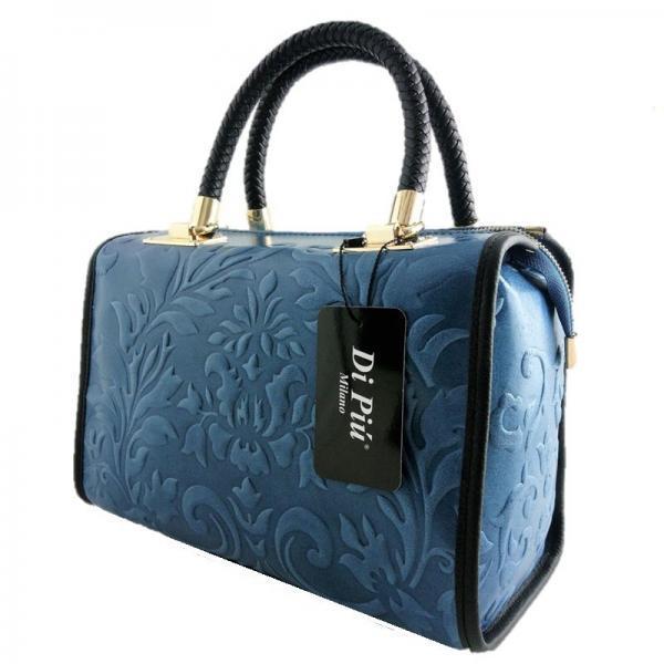 bolso piel con forma de baul color azul by di piu milano
