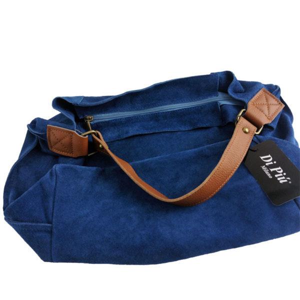 Bolso bandolera de piel color azul de Di Piu Milano