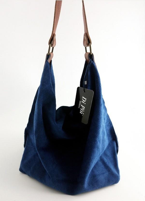Bandolera hecho en piel de ante color azul