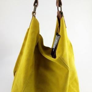 bolso de mujer hecho en piel de ante color amarillo